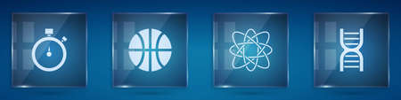 Set Stopwatch, Basketball ball, Atom and DNA symbol. Square glass panels. Vector
