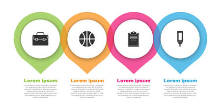 Set Briefcase, Basketball ball, Clipboard with checklist and Marker pen. Business infographic template. Vector