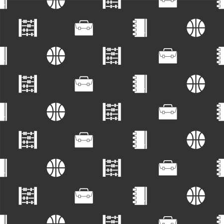 Set Spiral notebook, Basketball ball, Abacus and Briefcase on seamless pattern. Vector