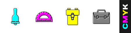 Set Ringing bell, Protractor, School backpack and Briefcase icon. Vector Illusztráció