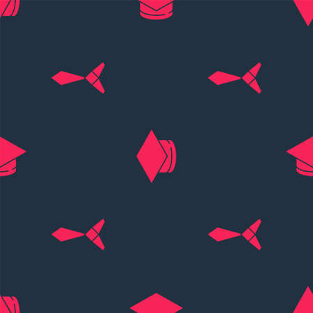 Set Tie and Graduation cap on seamless pattern. Vector