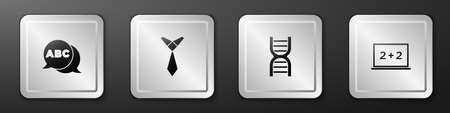 Set Alphabet, Tie, DNA symbol and Chalkboard icon. Silver square button. Vector