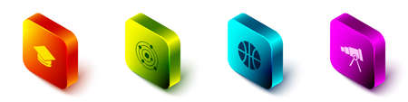 Set Isometric Graduation cap, Solar system, Basketball ball and Telescope icon. Vector