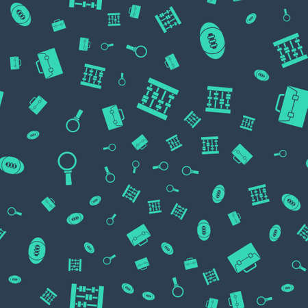 Set Abacus, American Football ball, Magnifying glass and Briefcase on seamless pattern. Vector