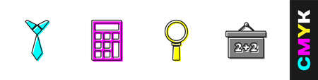 Set Tie, Calculator, Magnifying glass and Chalkboard icon. Vector 向量圖像