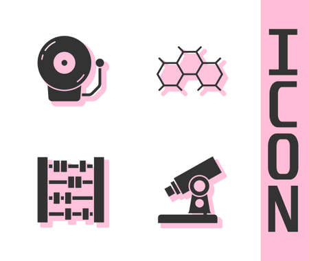 Set Microscope, Ringing alarm bell, Abacus and Chemical formula icon. Vector 矢量图像