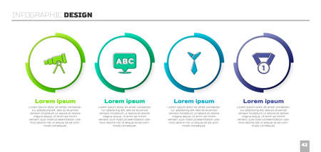 Set Telescope, Alphabet, Tie and Medal. Business infographic template. Vector