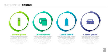 Set Shaving gel foam, Toilet paper roll, Condom and Brush for cleaning. Business infographic template. Vector