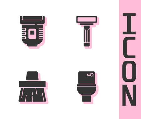 Set Toilet bowl, Epilator, Handle broom and Shaving razor icon. Vector 矢量图像