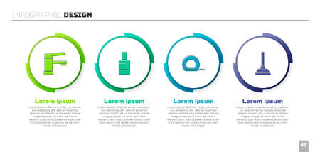 Set Water tap, Bottle for cleaning agent, Dental floss and Rubber plunger. Business infographic template. Vector 矢量图像
