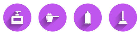 Set Bottle of shampoo, Washing powder, Condom and Rubber plunger icon with long shadow. Vector