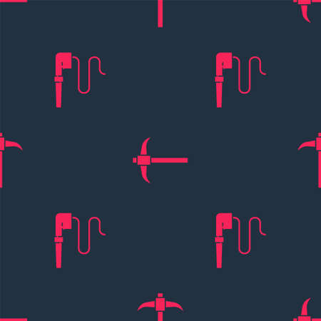 Set Smoking pipe and Pickaxe on seamless pattern. Vector