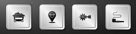 Set Coal mine trolley, Location cowboy, Spur and Smoking pipe icon. Silver square button. Vector 向量圖像