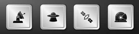 Set Satellite dish, UFO flying spaceship, and Astronaut helmet icon. Silver square button. Vector 向量圖像