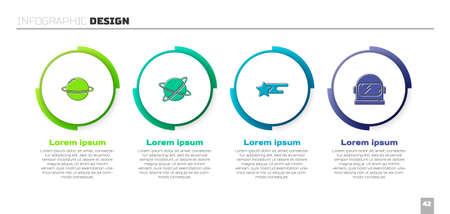 Set Planet Saturn, Satellites orbiting the planet, Falling star and Astronaut helmet. Business infographic template. Vector