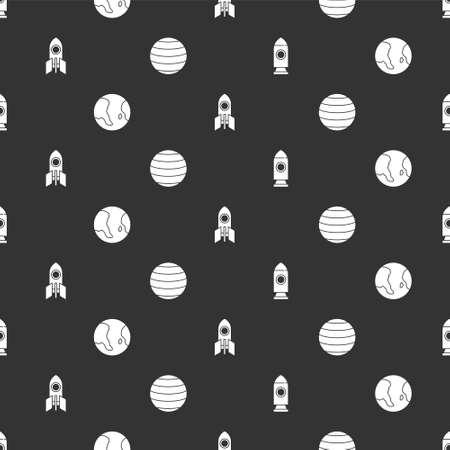 Set Rocket ship, Earth globe, and Planet Venus on seamless pattern. Vector Ilustracja