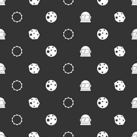 Set Astronaut helmet, Asteroid, Sun and Planet Mars on seamless pattern. Vector