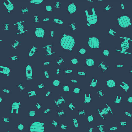 Set Planet, Astronomical observatory, Rocket ship and Cosmic on seamless pattern. Vector