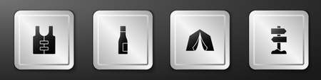 Set Life jacket, Bottle of water, Tourist tent and Road traffic signpost icon. Silver square button. Vector 向量圖像