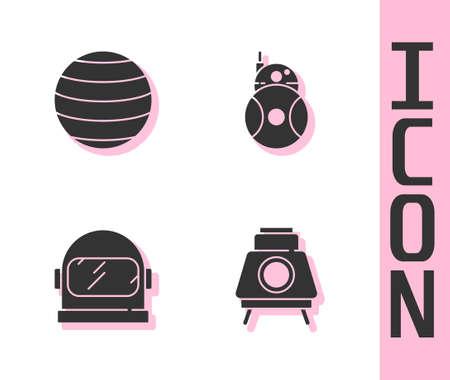 Set Mars rover, Planet Venus, Astronaut helmet and Robot icon. Vector