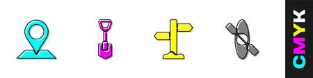 Set Location, Shovel, Road traffic signpost and Kayak or canoe icon. Vector