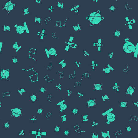 Set Satellite, Satellites orbiting the planet, Great Bear constellation and Astronomical observatory on seamless pattern. Vector Ilustracja