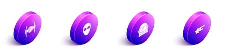 Set Isometric Cosmic ship, Alien, Astronaut helmet and Falling star icon. Vector 向量圖像