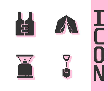 Set Shovel, Life jacket, Camping gas stove and Tourist tent icon. Vector
