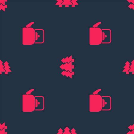 Set Kettle with handle and Forest on seamless pattern. Vector 免版税图像 - 158009021
