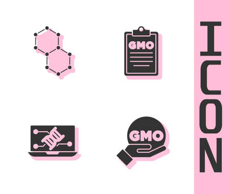 Set GMO, Chemical formula, Genetic engineering modification and icon. Vector 矢量图像