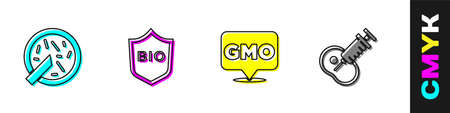 Set Petri dish with bacteria, Shield for bio healthy food, GMO and Genetically modified meat icon. Vector
