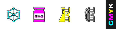 Set GMO, , DNA research, search and Genetically modified meat icon. Vector 矢量图像