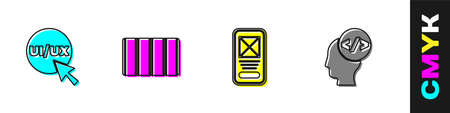 Set UI or UX design, Color palette guide, and Front end development icon. Vector