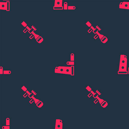 Set Sniper optical sight and Gun magazine and bullets on seamless pattern. Vector