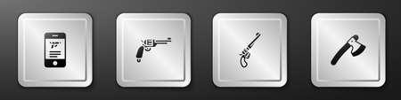Set Shop weapon in mobile app, Revolver gun, and Wooden axe icon. Silver square button. Vector 矢量图像