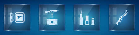 Set Hunting shop weapon, Buying assault rifle, Bullet and gun. Square glass panels. Vector
