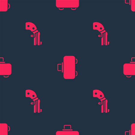 Set Small gun revolver and Weapon case on seamless pattern. Vector 版權商用圖片 - 158008108