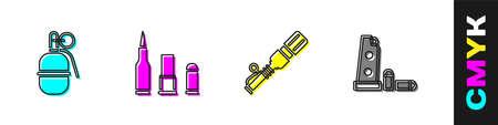 Set Hand grenade, Bullet, Anti-tank hand and Gun magazine bullets icon. Vector