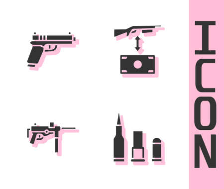 Set Bullet, Pistol or gun, Submachine and Buying assault rifle icon. Vector 向量圖像