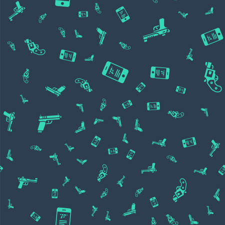 Set Shop weapon in mobile app, Desert eagle gun, Pistol or and Small revolver on seamless pattern. Vector