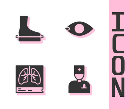 Set Male doctor, Flat foot, Lungs x-ray and Blindness icon. Vector
