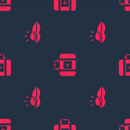Set Herpes lip and First aid kit on seamless pattern. Vector