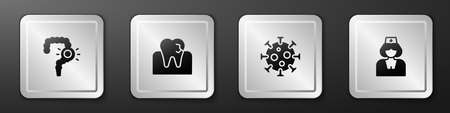 Set Gut constipation, Tooth with caries, Virus and Nurse icon. Silver square button. Vector 向量圖像