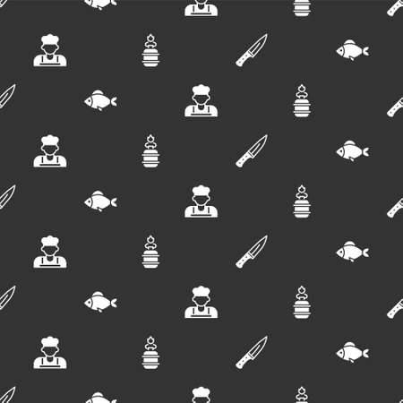 Set Meat chopper, Fish, Cook and Camping gas stove on seamless pattern. Vector 向量圖像