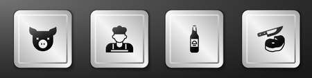 Set Pig, Cook, Beer bottle and Steak meat and knife icon. Silver square button. Vector