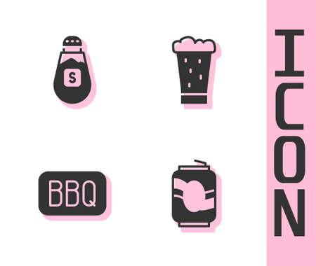 Set Soda can, Salt, Barbecue and Glass of beer icon. Vector Ilustração