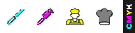 Set Bread knife, Meat chopper, Cook and Chef hat icon. Vector