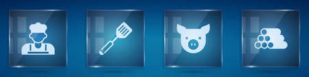 Set Cook, Spatula, Pig and Wooden logs. Square glass panels. Vector
