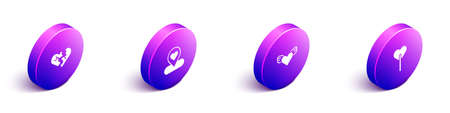 Set Isometric Broken heart or divorce, Location with, Heart wings and Lollipop icon. Vector 矢量图像