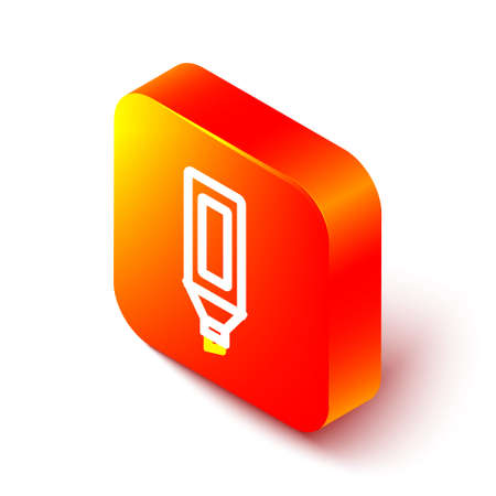 Isometric line Marker pen icon isolated on white background. Orange square button. Vector
